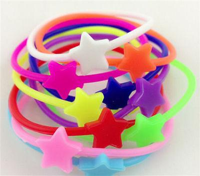 10pcs Luminous Neon Silicone Gummy Loom Rubber Hair band & W