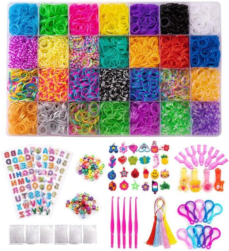 Afuower 11900+ Rainbow Rubber Bands Refill Kit Includes:1100