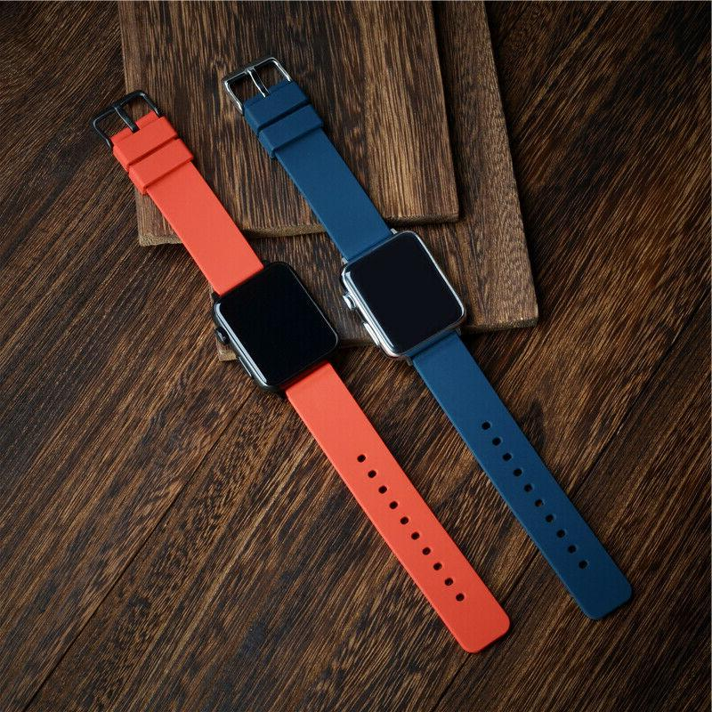 WOCCI 18 24mm Silicone Watch Band Rubber Strap Black Buckle