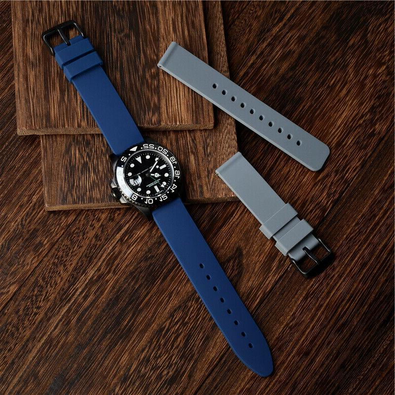 WOCCI 20 24mm Watch Band Rubber Black Buckle