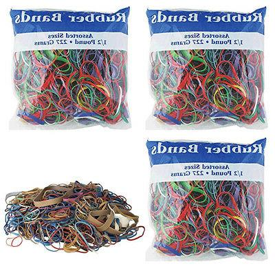 3 pk bazic rubber bands assorted 1