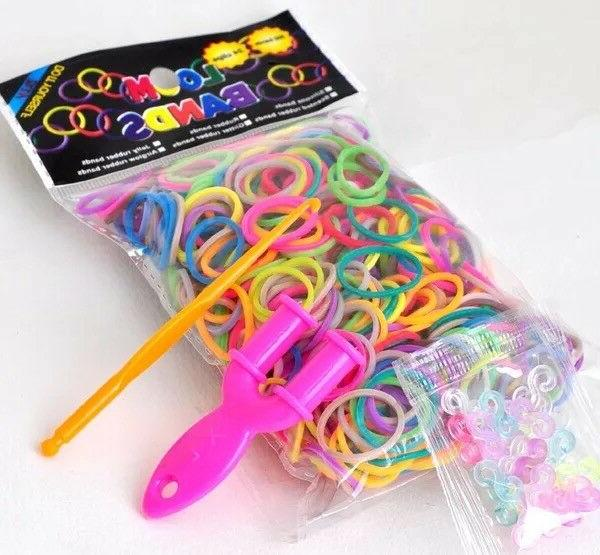 400x Rainbow Loom Colourful Rubber Bands S Clips Hook Y for