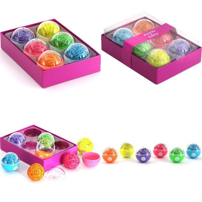 6 colored rubber band balls with close