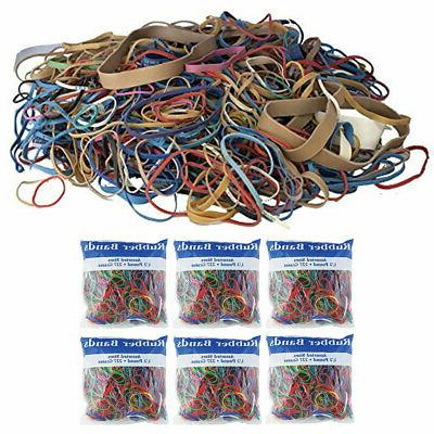 6 pk bazic rubber bands assorted 1
