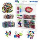 Assorted Colored Binder Clips, Paper Clips, Rubber Bands, Va