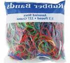 Bazic Rubber Bands Half Pound Multi Color & Sizes 465 Count