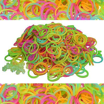 GLOW IN THE DARK~ LOOM REFILL KIT 600 RUBBER BANDS w 25 S-CL