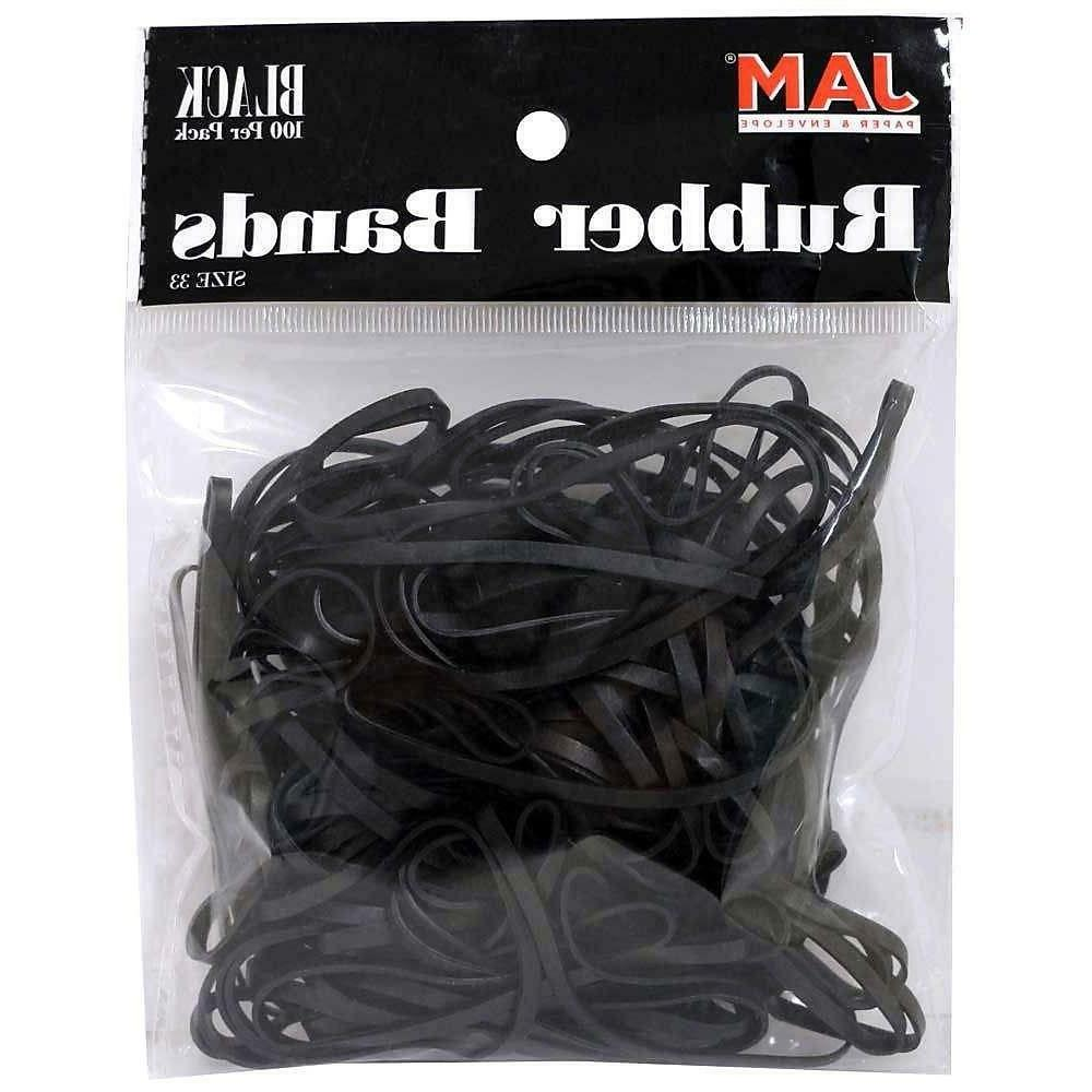 JAM Paper Rubber Bands - #33 Size - Black Rubberbands - 100/