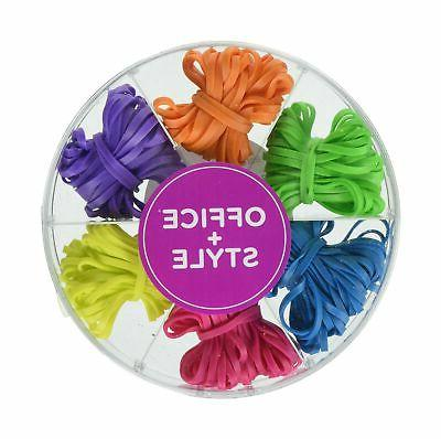 Office+Style Colored Rubber Bands with Close-Lid Storage Con
