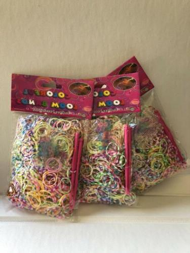 Rainbow loom  rubber bands 600 pc + 2 hooks + clips/ latex f