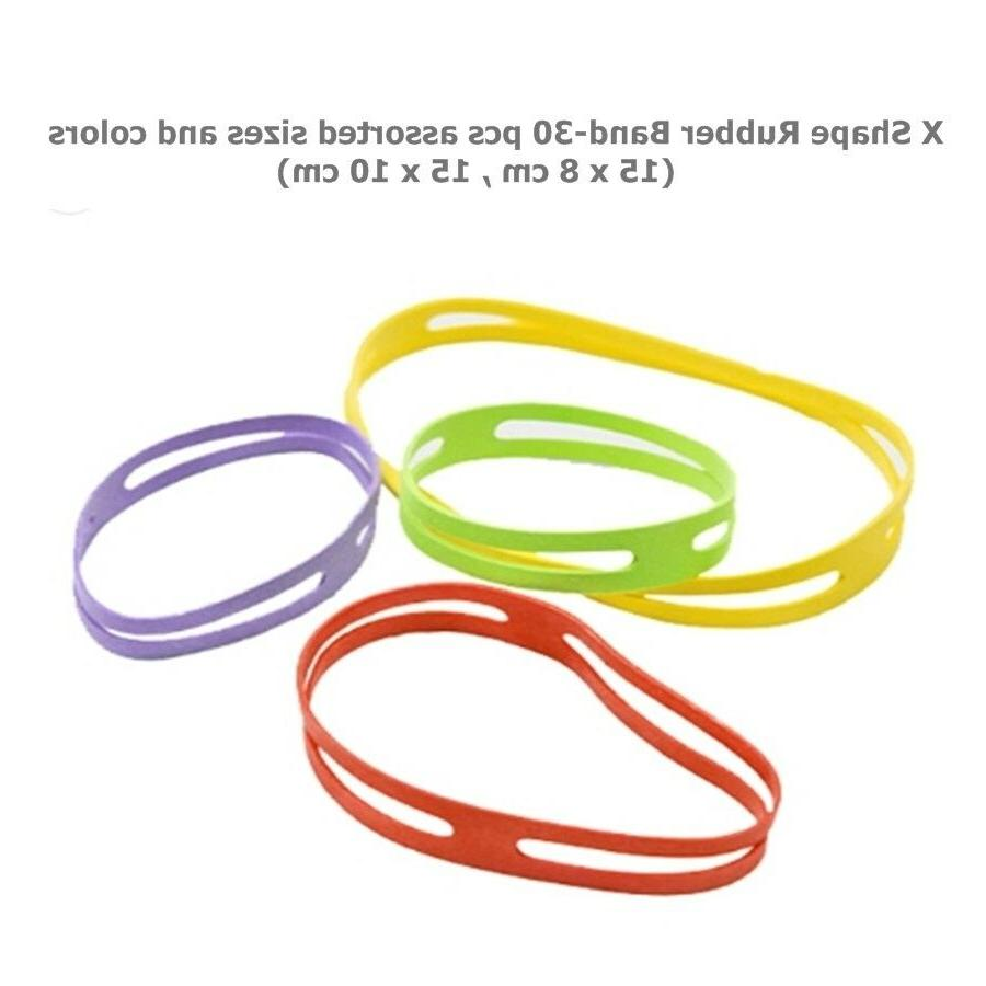 X Shape Silicone Rubber Bands Cross Style 8,10 cm 30 Pcs Ass