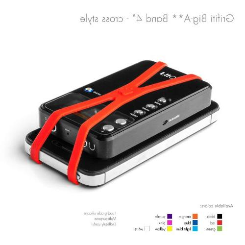 """Grifiti Band Joes Cross Style 4"""" Pack Books, Art, Wrapping, MacBooks, Bag Replacements, with Silicone Instead or Elastic"""