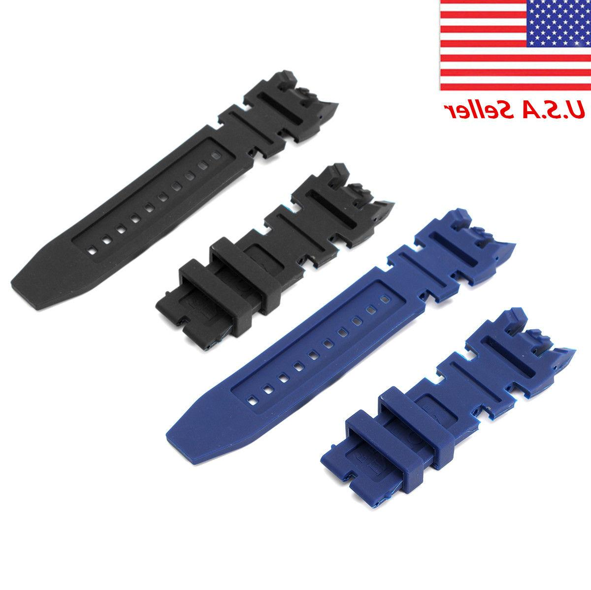 Black Blue Kit Silicone Rubber Watch Band Set for Invicta Su
