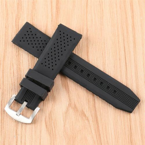 Black/Brown/Blue/Red Silicone Rubber Watch Band 18mm/20mm/22