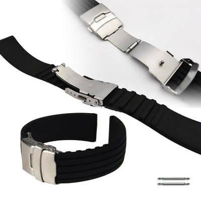 Black Rubber Silicone Replacement Watch Band Strap Double Lo