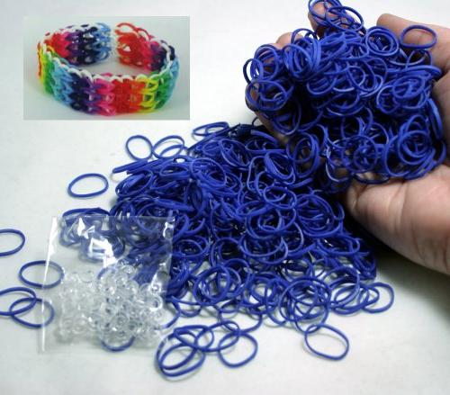 blue rubber band clips loom