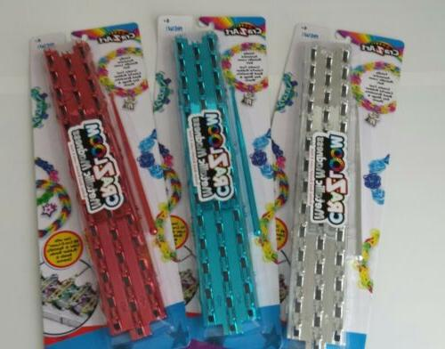 Cra-z-loom Metallic RED or BLUE or SILVER Rubber Band Bracel