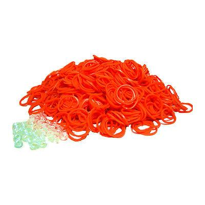 SHIPS FREE FROM USA ~ Loom Refill ORANGE 600 Rubber Bands &