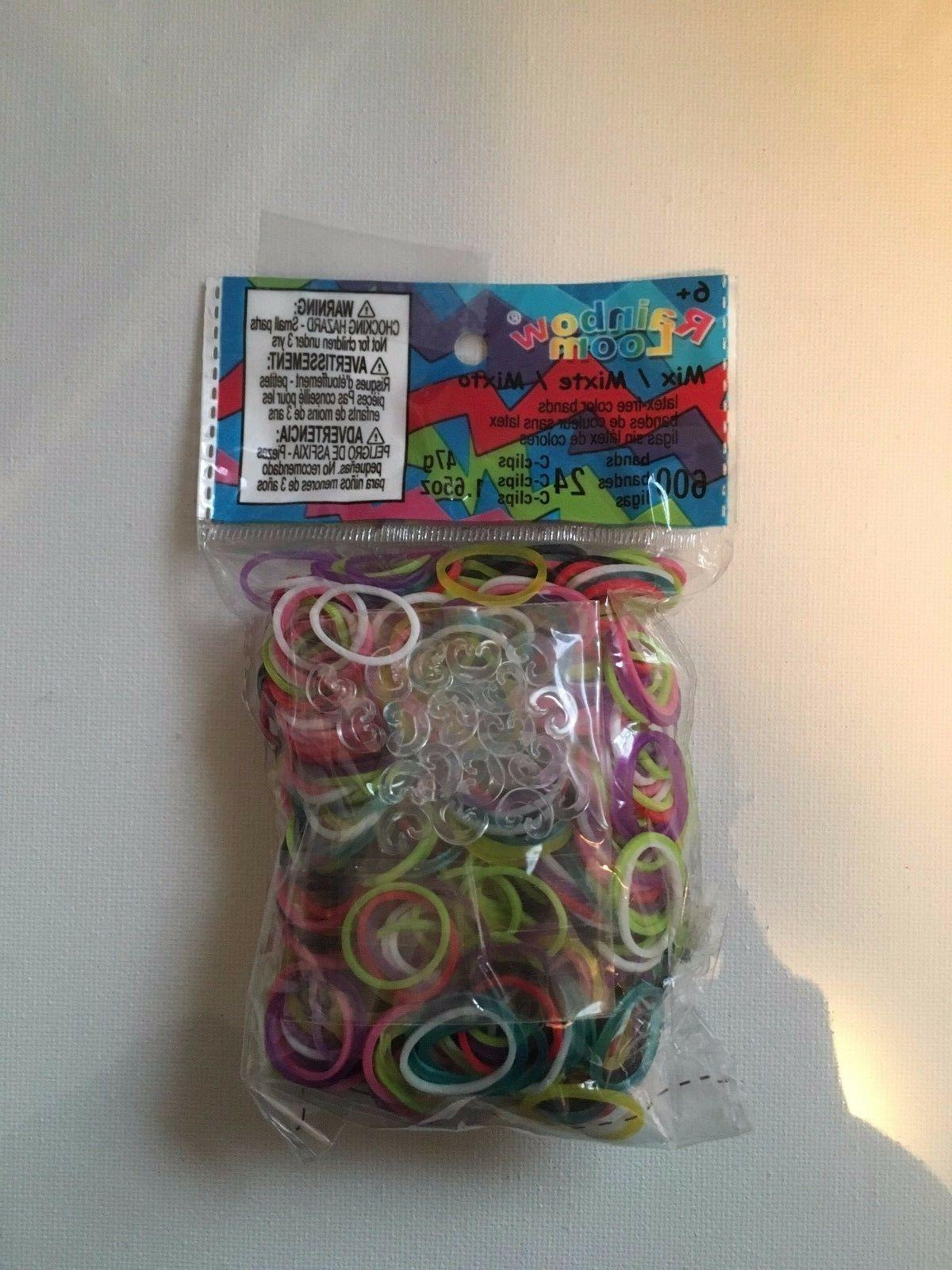 NEW Authentic Rainbow Rubber Bands Bands 24 C-Clips