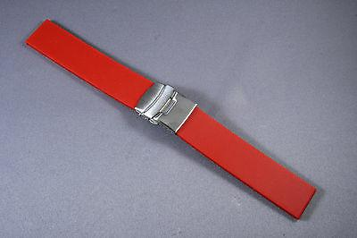 NEW RED RUBBER DIVER PLAIN, SMOOTH  WATCH BAND,STAINLESS STR