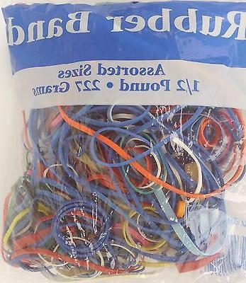OFFICE RUBBER BANDS ASSORTED SIZES & MULTICOLORS Jumbo Bag 8