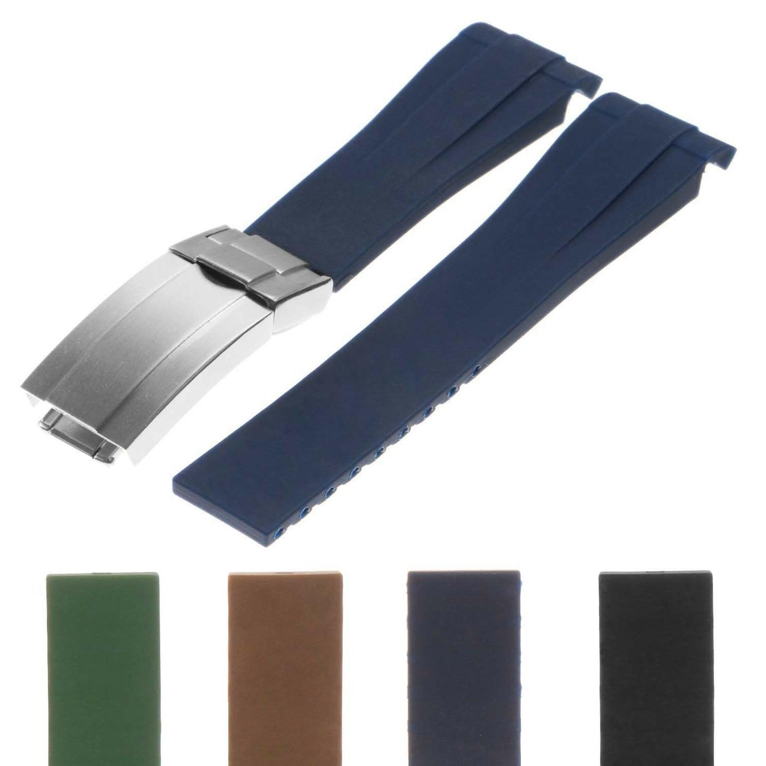 StrapsCo Silicone Rubber Oysterflex Replacement Watch Band S