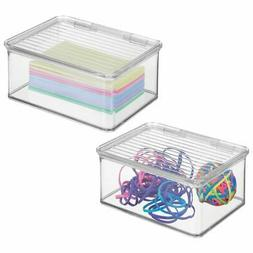 mDesign Small Mini Plastic Stackable Office Supplies Storage