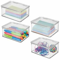 mDesign Small Mini Plastic Stackable Home, Office Supplies S