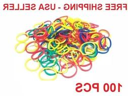New 100 Small MULTI COLOR MIX Rubber Bands for Hair Crafts H