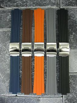 New 24mm 10mm Top Quality Soft PU Rubber Diver Strap band OR