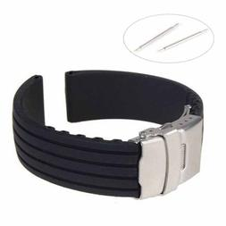 New Silicone Rubber Watch Strap Band Deployment Buckle Water