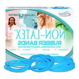 Alliance Non Latex Antimicrobial Cyan Blue Rubber Bands, Sz.