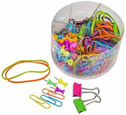 PuTwo Office Supply Kit Pushpins, Paper Clips, Binder Clips,