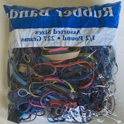 ONE BAG ASSORTED COLOR AND SIZES OF RUBBER BANDS HALF POUND