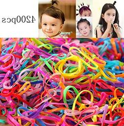 OPCC 4200 pcs Multi Candy Color Tpu Baby Girl's Kids Hair Ho