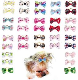 Hraindrop 36 pcs/18 pairs Pet Dog Hair Bows With Rubber Band