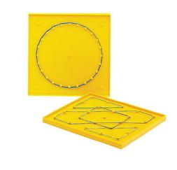 School Smart Double Sided Geoboard with Rubber Bands, 6 x 6