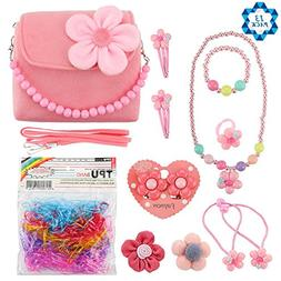 SOTOGO Plush Purses Flower Handbag Set With Hair Clip Neckla