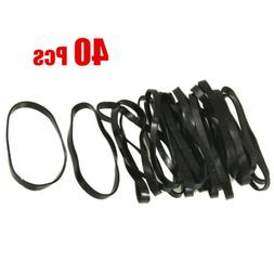 40 Pieces Practical Black Elastic Rubber Band Hair Tie Ponyt