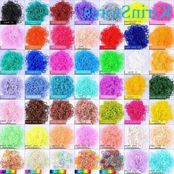 Rubber Loom Kit Bands 600 PCs 24 Clip Refill Rainbow Solid T