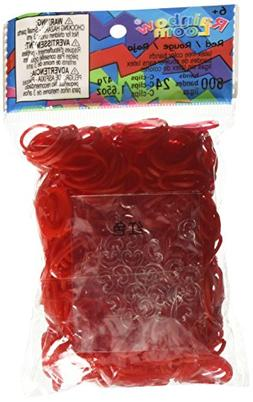 Rainbow Loom Red Jelly Rubber Bands with 24 C-Clips