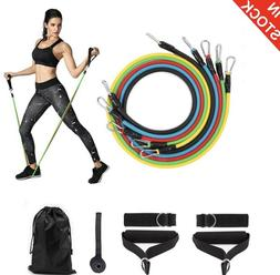 Resistance Bands 11piece Set Yoga Pilates Abs Exercise Fitne