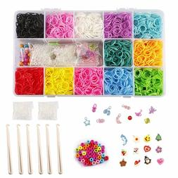 Rubber Bands Loom Bracelet Craft Kit Hook& Beads Storage Cas