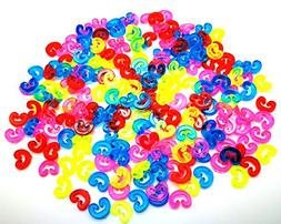 Emma angel Pack of 200Pcs color rubber bracelet c-clips valu