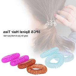 Set of 3 Spiral Hair Ties Coil Hair Ties Coil Colorful Rubbe