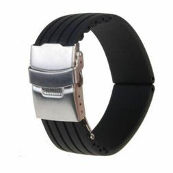 Silicone Rubber Watch Strap Band Deployment Buckle Waterproo