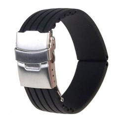 Silicone Rubber Watch Straps Band Folding Clasp Bracelet Wat