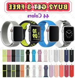 Silicone Nylon Sport Band Strap for Apple Watch Series 5 4 3