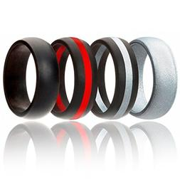Silicone Wedding Ring For Men By ROQ, 4 Pack Silicone Rubber