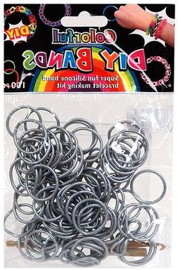 DIY Bands - 100 Count Silver Refill bands with Clips and Loo